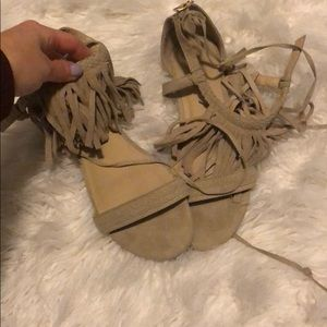Tan fringe sandals